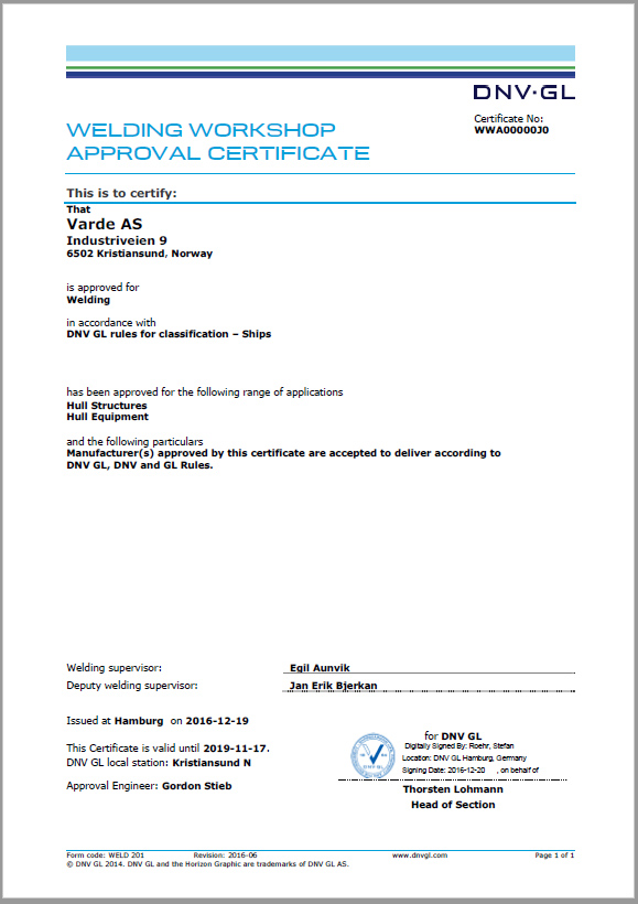 Welding Workshop Approval Certificate of DNV-GL